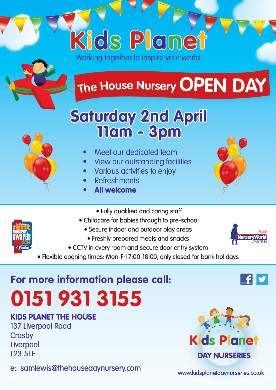 come along to one of our open days at kids planet and jeffrey s kids planet the house open day 2 2016