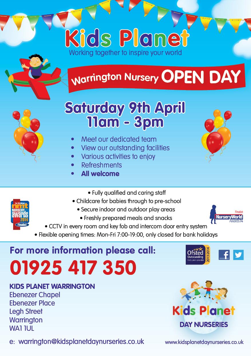 Kids Planet Warrington Open Day 9 April 2016
